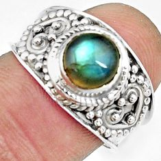 925 silver 2.55cts natural blue labradorite round solitaire ring size 7.5 r22599