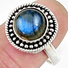 925 silver 5.29cts natural blue labradorite round solitaire ring size 7.5 r24896