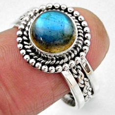 925 silver 3.23cts natural blue labradorite round solitaire ring size 8.5 r54296