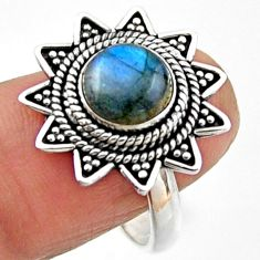 925 silver 3.16cts natural blue labradorite round solitaire ring size 8.5 r54314