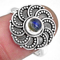 925 silver 0.88cts natural blue labradorite round solitaire ring size 8.5 r57898