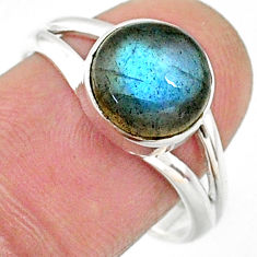 925 silver 4.34cts natural blue labradorite round solitaire ring size 8.5 r66340
