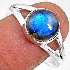 925 silver 4.64cts natural blue labradorite round solitaire ring size 9.5 r66375