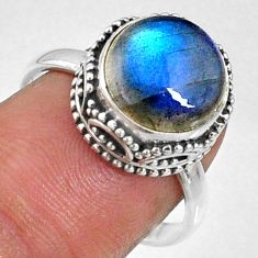 925 silver 5.84cts natural blue labradorite round solitaire ring size 7.5 r66417