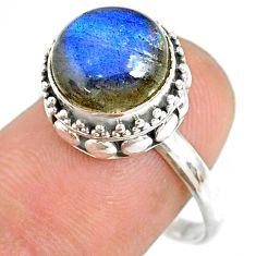 925 silver 5.38cts natural blue labradorite round solitaire ring size 8.5 r76797
