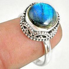 925 silver 5.13cts natural blue labradorite round solitaire ring size 7.5 r76814