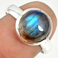 925 silver 5.05cts natural blue labradorite round solitaire ring size 7.5 r77624