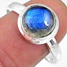 925 silver 4.40cts natural blue labradorite round solitaire ring size 10 r66397