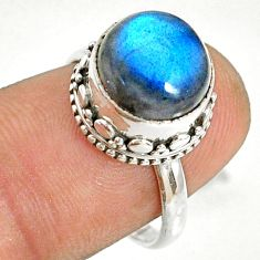 925 silver 5.36cts natural blue labradorite round solitaire ring size 7 r76819