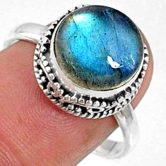 925 silver 5.56cts natural blue labradorite round solitaire ring size 8 r66404
