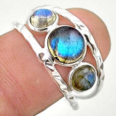 925 silver 4.18cts natural blue labradorite round solitaire ring size 8.5 t26757