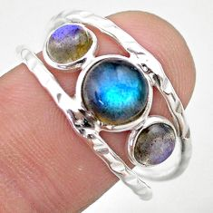 925 silver 4.38cts natural blue labradorite round solitaire ring size 9.5 t26760