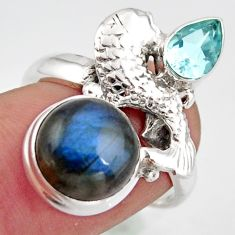 925 silver 6.86cts natural blue labradorite round topaz fish ring size 8 d46099