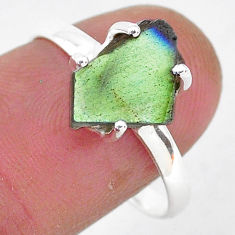 925 silver 4.99cts natural blue labradorite slice solitaire ring size 8.5 r95484