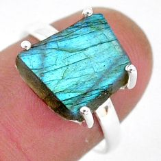 925 silver 6.73cts natural blue labradorite slice solitaire ring size 7 r95489