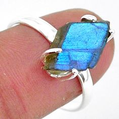 925 silver 5.96cts natural blue labradorite slice solitaire ring size 8 r95494
