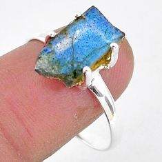 925 silver 5.86cts natural blue labradorite slice solitaire ring size 9 r95497