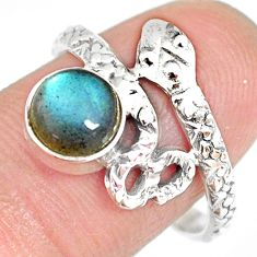 925 silver 2.53cts natural blue labradorite snake solitaire ring size 8.5 r82540