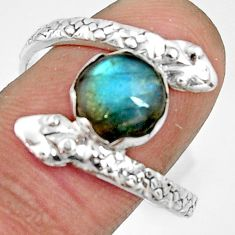 925 silver 3.26cts natural blue labradorite snake solitaire ring size 10 r22564