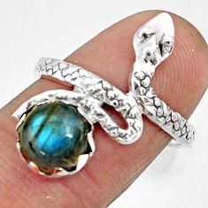 925 silver 3.02cts natural blue labradorite snake solitaire ring size 8 r22575