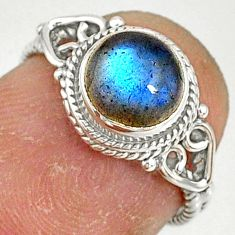 925 silver 2.22cts natural blue labradorite solitaire ring size 5 r79014