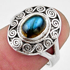 925 silver 2.26cts natural blue labradorite solitaire ring jewelry size 6 r40938
