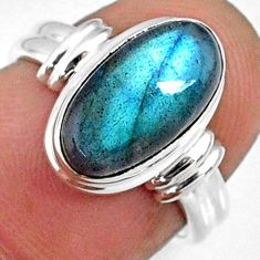 925 silver 4.60cts natural blue labradorite solitaire ring jewelry size 6 r66350