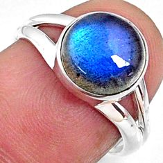 925 silver 4.09cts natural blue labradorite solitaire ring jewelry size 6 r66354