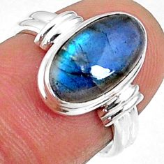 925 silver 4.43cts natural blue labradorite solitaire ring jewelry size 6 r66364