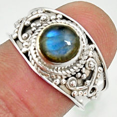 925 silver 2.53cts natural blue labradorite solitaire ring jewelry size 7 r22612
