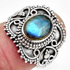 925 silver 3.13cts natural blue labradorite solitaire ring jewelry size 7 r26956