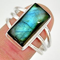 925 silver 6.48cts natural blue labradorite solitaire ring jewelry size 7 r27128