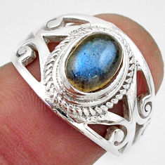 925 silver 2.11cts natural blue labradorite solitaire ring jewelry size 7 r40997