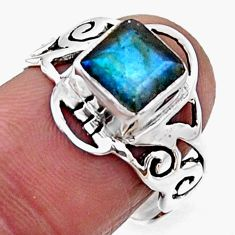925 silver 2.72cts natural blue labradorite solitaire ring jewelry size 7 r54438