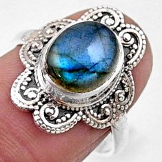 925 silver 4.23cts natural blue labradorite solitaire ring jewelry size 7 r54494