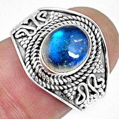 925 silver 3.30cts natural blue labradorite solitaire ring jewelry size 7 r57955