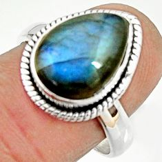925 silver 6.04cts natural blue labradorite solitaire ring jewelry size 8 r22155