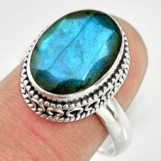 925 silver 6.48cts natural blue labradorite solitaire ring jewelry size 8 r26308