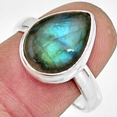 925 silver 5.38cts natural blue labradorite solitaire ring jewelry size 8 r26612