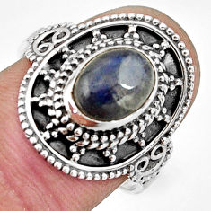925 silver 3.19cts natural blue labradorite solitaire ring jewelry size 8 r26777