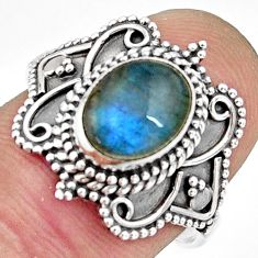 925 silver 2.92cts natural blue labradorite solitaire ring jewelry size 8 r26800