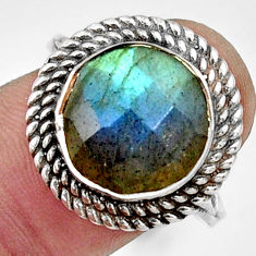 925 silver 6.60cts natural blue labradorite solitaire ring jewelry size 8 r33388
