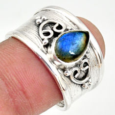925 silver 2.12cts natural blue labradorite solitaire ring jewelry size 8 r34475