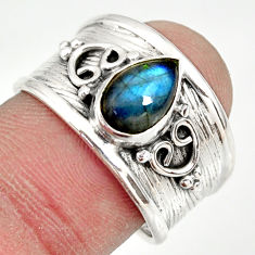 925 silver 2.12cts natural blue labradorite solitaire ring jewelry size 8 r34478