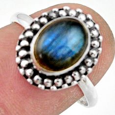 925 silver 3.05cts natural blue labradorite solitaire ring jewelry size 8 r41452
