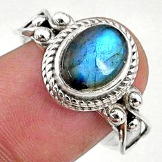 925 silver 3.28cts natural blue labradorite solitaire ring jewelry size 8 r68756