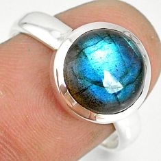 925 silver 5.05cts natural blue labradorite solitaire ring jewelry size 8 r77640