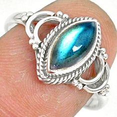 925 silver 2.72cts natural blue labradorite solitaire ring jewelry size 8 r78893