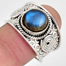925 silver 5.60cts natural blue labradorite solitaire ring jewelry size 9 d45897