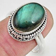 925 silver 6.89cts natural blue labradorite solitaire ring jewelry size 9 r26497